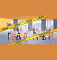 empty closed cafe with yellow bankruptcy crisis vector image vector image