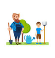 farmer on agricultural plot engaged ennoblement vector image vector image