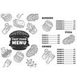 fast food menu template burgers pizza beverages vector image