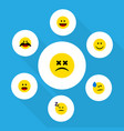 flat icon face set of joy asleep cheerful and vector image vector image
