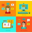 Foreign language education online vector image vector image