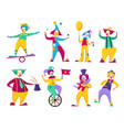 funny clowns circus comedians with colorful vector image vector image