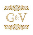 g and v vintage initials logo symbol vector image vector image