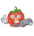gamer cartoon fresh tomato slices for cooking vector image