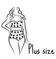 Girl silhouette sketch plus size model Curvy vector image vector image