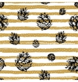 Gold strips and fir cones seamless pattern on vector image