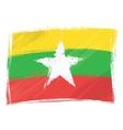 grunge myanmar flag vector image vector image