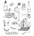 hand drawn picnic items set collection vector image vector image