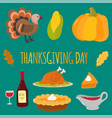Happy thanksgiving day symbols design holiday vector image