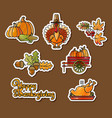 happy thanksgiving stickers cartoon turkey vector image