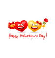 happy valentines day with couple enamored hearts vector image vector image
