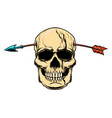 Human skull with arrow in head design element