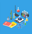 isometric chemistry equipment test tubes vector image vector image