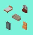 isometric furniture set of sideboard bedstead vector image vector image