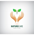 logo - hands holding leaves eco icon vector image vector image