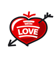 logo red heart and arrow vector image vector image