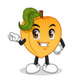 male peach with hand presenting cartoon character vector image vector image