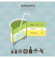 Margarita cocktail flat style isometric vector image vector image