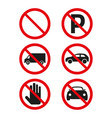 no cars and no parking sign on white background vector image vector image