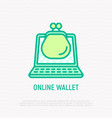 online wallet app thin line icon vector image vector image