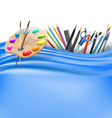 palette and office supplies vector image vector image