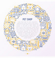pet shop concept in circle with thin line icons vector image vector image