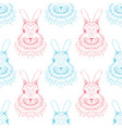 rabbit sketch seamless pattern hand drawn vector image