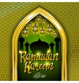 Ramadan greeting card on green background vector image vector image
