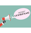 Santa hand holding megaphone with word Merry vector image vector image