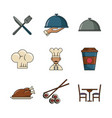 set of restaurant and food icons vector image