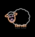 sheep neon sign bright glowing symbol on a black vector image vector image