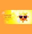 summer sale cartoon sun face layout design vector image vector image