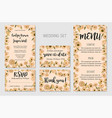 wedding invitation set floral invite thank you vector image vector image