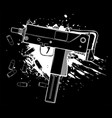 white silhouette army uzi weapon with bullets vector image vector image