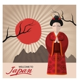 Woman with traditonal cloth of Japan design vector image vector image
