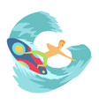 young man surfboarder riding a surfboard vector image