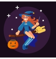 Happy Halloween Banner Invitation Card Witch on vector image