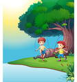 A boy and a girl playing near the giant tree vector image vector image