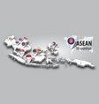 asean and membership flag on 3d map southeast vector image