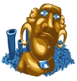 Blue coral reef and Golden statue of Maya vector image