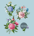 bouquets with peony rose and wild flowers vector image vector image