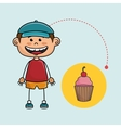 boy cup cake bakery vector image vector image