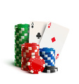 casino chips and cards isolated on white realistic vector image vector image