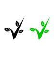 check mark green leaf environment icon logo vector image vector image