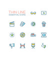 cinema and movie line icons set vector image vector image