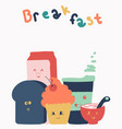 cute breakfast cartoon isolated on white vector image vector image