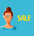 cute girl in sunglasses with sale vector image vector image