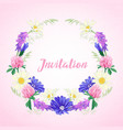 cute invitation with floral wreath vector image vector image