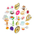 dessert icons set isometric style vector image