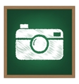 Digital photo camera sign White chalk effect on vector image vector image